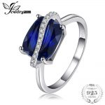 JewelryPalace Rectangle 4.26ct Created Sapphire Ring 925 Sterling <b>Silver</b> Wedding Engagement Ring Gemstone <b>Jewelry</b> Women New