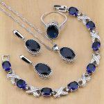 925 Sterling Silver <b>Jewelry</b> Blue Cubic Zirconia <b>Jewelry</b> Sets For Women Earrings/Pendant/Necklace/Rings/Bracelet
