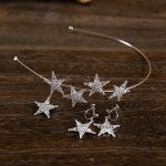 Star Cubic Zircon Tiara Earrings CZ Bride Headpiece <b>Wedding</b> Hair Accessories <b>Jewelry</b> Bijoux Cheveux Coroa Novia WIGO1063