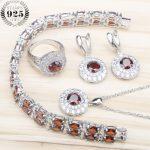 Round Red Dark Zircon Silver 925 Wedding <b>Jewelry</b> Sets Women Earrings With Stones Bracelets Pendant&<b>Necklace</b> Rings Set Gift Box
