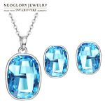 Neoglory MADE WITH SWAROVSKI ELEMENTS Crystal <b>Jewelry</b> Set Simple Round Shaped Alloy Plated Exquisite <b>Necklaces</b> & Earrings