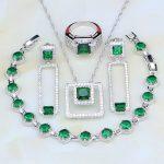 925 Sterling <b>Silver</b> Jewelry Green Cubic Zirconia White CZ Costume Jewelry Sets For Women Earrings/Pendant/Necklace/<b>Bracelet</b>/Ring