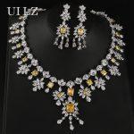 UILZ New Arival Luxury 2 Pcs <b>Jewelry</b> Set Cubic Zircon Earrings & <b>Necklace</b> Charm Set For Women Anniversary US359