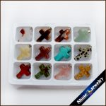 Wholesale 12 pcs 18x25x5 mm Mix Cross Necklace Pendants Natural Stone Beads in Box Specimens Crucifix fit <b>Jewelry</b> <b>Making</b> -Y09