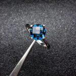 Elegant Classic round Natural London Blue topaz gem Ring Natural gemstone ring S925 <b>silver</b> women party girl gift fine <b>Jewelry</b>