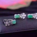 Natural green emerald gem jewelry sets natural gemstone ring <b>Earrings</b> 925 <b>silver</b> Stylish windmill Flowers women gift jewelry