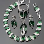 Natural Green Stones <b>Jewelry</b> Sets For Women Silver 925 White CZ Ring Size 6/7/8/9/10 Bracelet Length 20CM Free Box