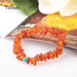 Yoowei Brand Wholesale Chips Amber <b>Bracelet</b>/Necklace Natural Stone Rocks Crushed Stone Handmade Original Amber Jewelry Supplier