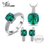 JewelryPalace 8.7ct Emerald Ring Pendant Clip Earrings <b>Jewelry</b> Set 925 <b>Sterling</b> <b>Silver</b> Fine <b>Jewelry</b> 45cm Box Chain