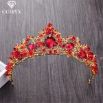 CC Tiaras And Crwons Hairbands Red CZ Stone Engagement <b>Wedding</b> Hair Accessories For Bride Fashion <b>Jewelry</b> Shine Rhinestone XY137