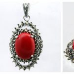 Fashion Red Carved Lacquer Marcasite 925 Sterling <b>Silver</b> floeer Ring(#7-10) <b>Earrings</b> & Pandent jewelry sets
