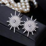 CC stud earrings for women luxury cubic zircon shine wedding <b>accessories</b> bride engagement party silver <b>jewelry</b> star shape E0174