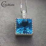 Simple square <b>silver</b> topaz necklace pendant for office woman 8 mm*8 mm natural topaz pendant solid 925 <b>silver</b> topaz fine <b>jewelry</b>