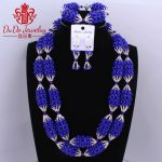 Free Shipping Royal Blue And <b>Silver</b> Big Design African Jewelry sets Long Necklace Nigerian Beads Wedding Dubai Jewelry sets