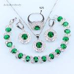 L&B Wholesale Price Wedding Jewelry Set <b>silver</b> Color 925 Logo White Zircon Green crystal <b>Bracelets</b>/Pendant/Necklace/Ring