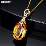 Natural Yellow Citrine Necklace Pendant Genuine Solid 925 <b>Sterling</b> <b>Silver</b> Fine Gemstone <b>Jewelry</b>