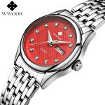 WWOOR Brand Luxury Women Watches Waterproof Date Clock Ladies Quartz Watch Women <b>Silver</b> <b>Bracelet</b> Wristwatch Red Relogio Feminino