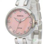 Amica Women's D-Ceramics Quartz Sapphire <b>Silver</b> Tone Stainless Steel Wrist Watches A-1-4