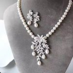 <b>jewelry</b> set natural fresh water pearl pendant necklace and drop earring set 925 <b>sterling</b> <b>silver</b> with cubic zircon
