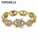 TOPGRILLZ Hip Hop Men Jewelry <b>Bracelet</b> Copper Iced Out Gold/<b>Silver</b> Color Plated Micro Pave CZ Stone Chain <b>Bracelet</b> 7Inch 8Inch