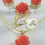 real Women's Wedding <b>Jewelry</b> tibet Rose coral flower Pendant Earring Ring set silver-<b>jewelry</b>