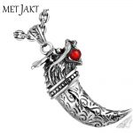 MetJakt Vintage <b>Silver</b> Domineering Dragon Head Pendant with Garnet and 925 Sterling <b>Silver</b> Snake Chain <b>Necklace</b>