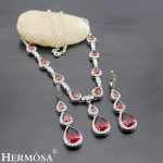 Fancy Wedding Jewelry Genuine Garnet 925 Sterling <b>Silver</b> Jewelry Sets <b>Necklace</b> ,Earrings F836 Free Shipping