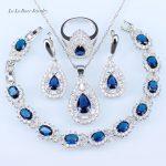 L&B Wedding Bridal Jewelry Sets <b>silver</b> 925 Blue Crystal White CZ Drop Earrings/<b>Bracelets</b>/Pendant/Necklace/Rings