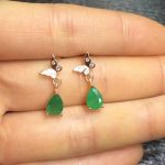 ZHHIRY Natural Green Emerald Earring Genuine Solid 925 <b>Sterling</b> <b>Silver</b> Real Gem Earrings Women Stone Fine <b>Jewelry</b>