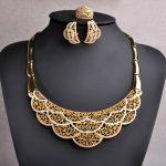 Blucome Women <b>Jewelry</b> Sets Big Flower Pendant <b>Necklace</b> And Hoop Earring Finger Ring Wedding Bridal Enamel Gold Color <b>Jewelry</b> Set
