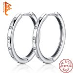 BELAWANG <b>Fashion</b> 925 Sterling Silver Circle Round Hoop Earrings with CZ Crystal Teardrop Earrings for Women Girls Silver <b>Jewelry</b>