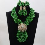 Luxury Green Nigerian Coral Beads <b>Jewelry</b> Sets Full Coral Beaded Pendant <b>Necklace</b> Set Bridal 2017 Free Shipping CNR773