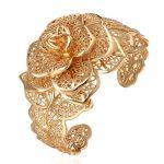 Filigree Flower Cuff Bangle Yellow Gold Filled Fashion Womens Bangle Bracelet <b>Wedding</b> <b>Jewelry</b> Gift