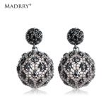 Madrry Hollow Out Drop Earrings Round Shiny Zircon Dangle orecchini d'oreille femme Joyas <b>Wedding</b> Classic <b>Jewelry</b> Women Love