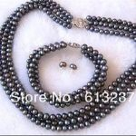 Charms 3 rows 7-8mm beautiful black pearl round beads diy Necklace Bracelet Earring <b>making</b> MY4794
