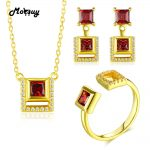 MoBuy Unique Square 925 Sterling <b>Silver</b> Jewelry Sets For Women Natural Gemstone Garnet S925 Wedding Jewelry For Women V030ENR