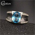 Fashion blue topaz ring for man solid 925 sterling <b>silver</b> man ring 100 natural 8*10mm topaz man classic <b>silver</b> <b>jewelry</b> for man
