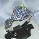 <b>Handmade</b> 925 Sterling silver ring Princess cut 3ct AAAAA zircon cz Engagement Wedding Band Rings for women Bridal <b>Jewelry</b>