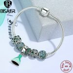 BISAER Authentic 925 Sterling <b>Silver</b> Princess Dream Charm <b>Bracelets</b> for Women Lucky Clover Charm Authentic <b>Silver</b> Jewelry EDB007