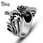 Casting Phoenix Ring Retro Personality Maya Style Stainless Steel Hollow Rings for Women <b>Antique</b> Vintage <b>Jewelry</b>