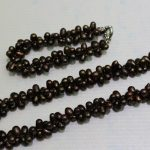 "j003332 2strand dark brown Freshwater pearl set 6x9mm 8.5&18INCH ""<b>Handmade</b>""Alloy"