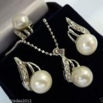 Women's Wedding Charming white pearl pendant necklace earring ring set real silver mujer fine quality
