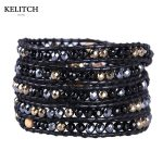 KELITCH <b>Jewelry</b> <b>Handmade</b> Black Stone Beads 5 Wrap Strand Bracelets with Leather Chain Customized LOGO Drop Shipping