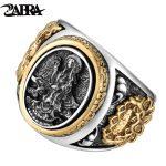 ZABRA Vintage Buddhism Goddess 925 <b>Silver</b> Dragon Male Ring Gold Retro Black Male <b>Silver</b> Ring <b>Sterling</b> Biker Man Rings <b>Jewelry</b>