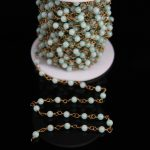 4mm,Light blue Malaysian Jade Round beads Rosary Chain,Amazonite Color Jasper Link Brass Wire Wrapped Chain Bracelet <b>Necklaces</b>