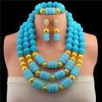 Exclusive Lake Blue Nigerian Indian Bridal Beads <b>Jewelry</b> Set <b>Handmade</b> Crystal Statement Necklace Set New Free Shipping