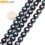 """Gem-inside Natural Black with Peacock Green luster Round Cultured Freshwater Pearls Beads for <b>Jewelry</b> <b>Making</b> 15"""" DIY Jewellery"""