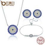 BAMOER Authentic 925 Sterling <b>Silver</b> Round Blue Eyes Clear CZ Tennis <b>Bracelets</b> Necklaces Earrings Women Bridal Jewelry Sets