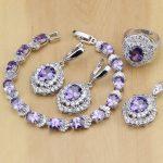 Classic Purple Cubic Zirconia White Crystal 925 Sterling Silver <b>Jewelry</b> Sets For Women Earrings/Pendant/Necklace/Rings/Bracelet