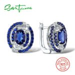 SANTUZZA <b>Silver</b> Round Earrings For Women 925 <b>Sterling</b> <b>Silver</b> Stud Earrings <b>Silver</b> 925 with Stones Cubic Zirconia brincos <b>Jewelry</b>